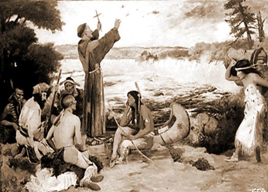 image: Louis Hennepin preaches to Native Americans.